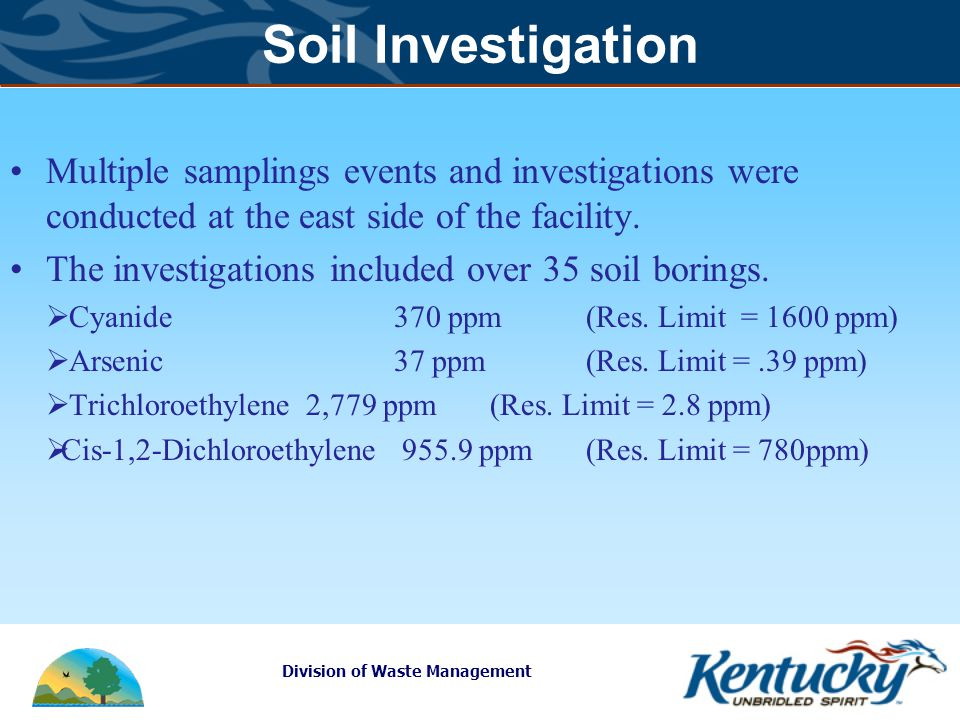 Division of Waste Management Soil Investigation Multiple samplings events and investigations were conducted at the east side of the facility.