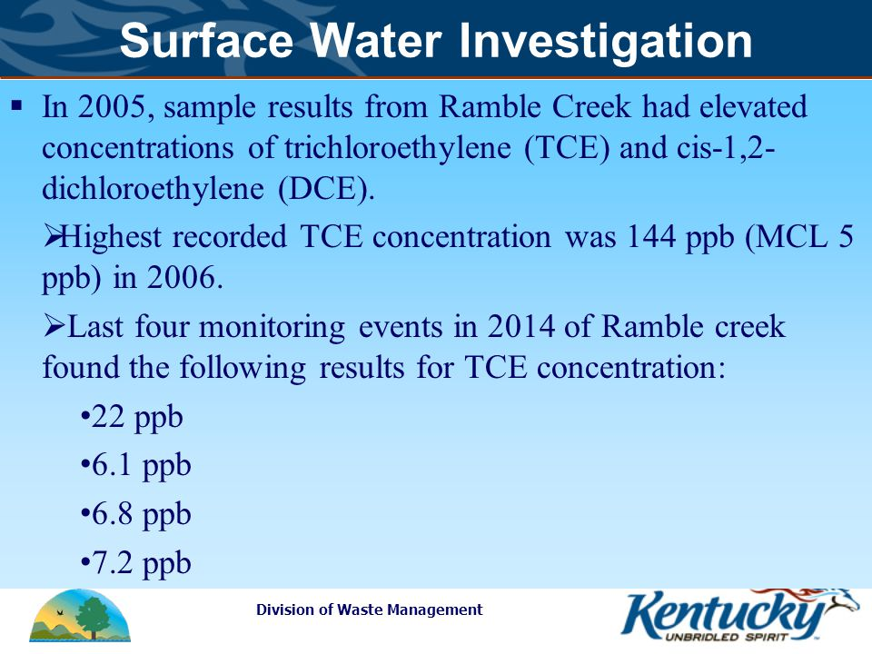 Division of Waste Management Surface Water Investigation  In 2005, sample results from Ramble Creek had elevated concentrations of trichloroethylene (TCE) and cis-1,2- dichloroethylene (DCE).