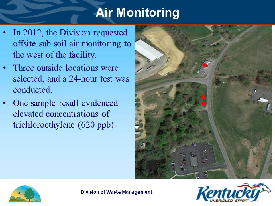Division of Waste Management Air Monitoring In 2012, the Division requested offsite sub soil air monitoring to the west of the facility.
