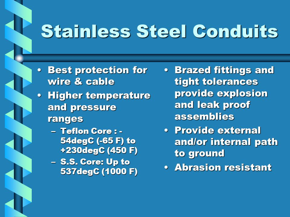 Current Harness Configurations  Stainless steel conduits S.S.