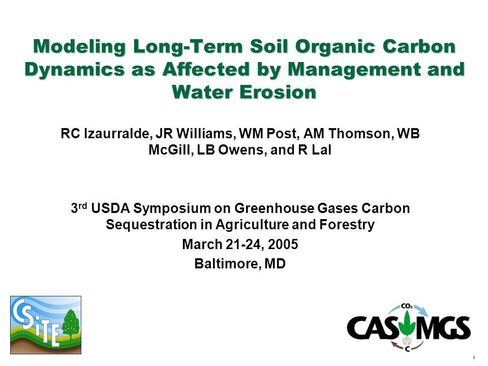 1 Modeling Long-Term Soil Organic Carbon Dynamics as Affected by Management and Water Erosion RC Izaurralde, JR Williams, WM Post, AM Thomson, WB McGi