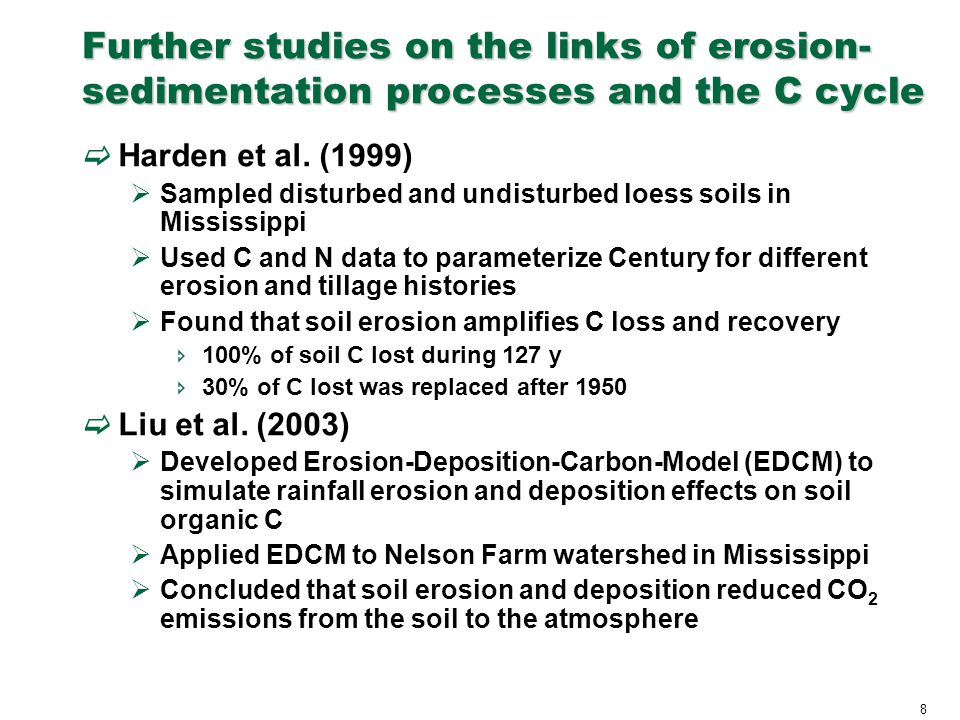 8 Further studies on the links of erosion- sedimentation processes and the C cycle  Harden et al. (1999)  Sampled disturbed and undisturbed loess so