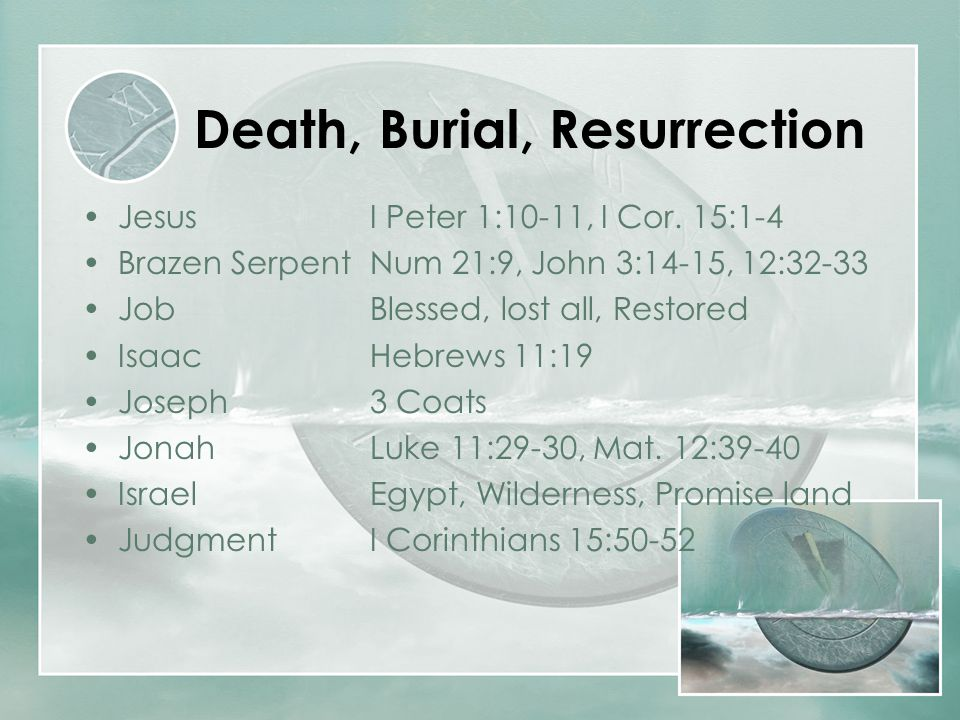 Death, Burial, Resurrection JesusI Peter 1:10-11, I Cor. 15:1-4 Brazen SerpentNum 21:9, John 3:14-15, 12:32-33 JobBlessed, lost all, Restored IsaacHeb