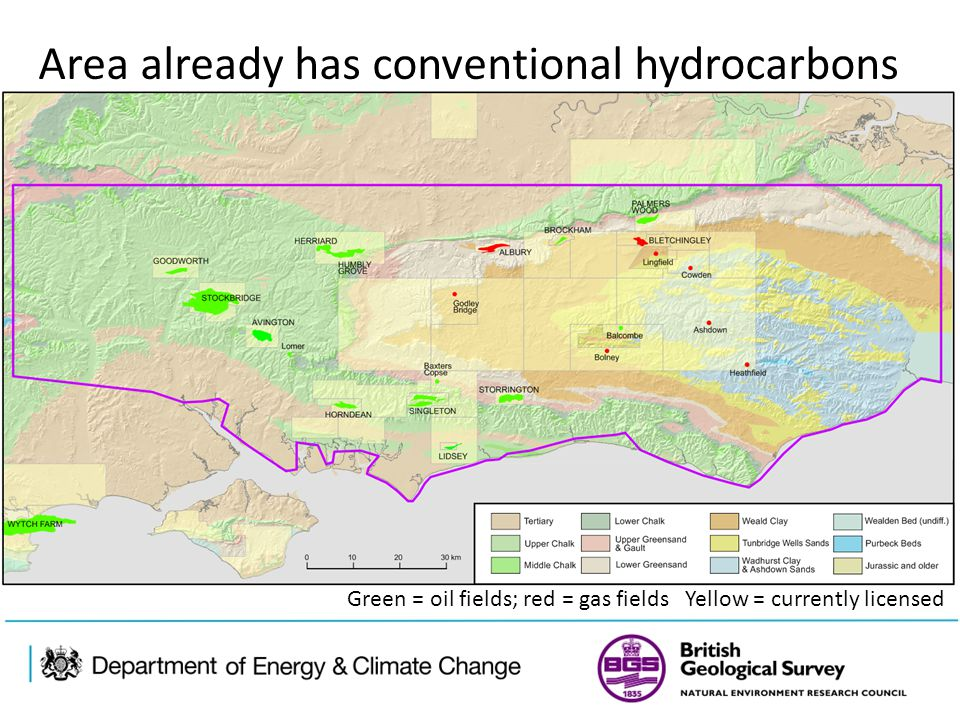 Area already has conventional hydrocarbons Green = oil fields; red = gas fields Yellow = currently licensed