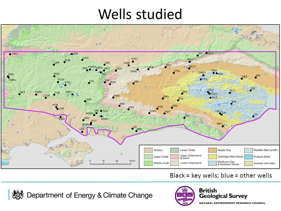 Wells studied Black = key wells; blue = other wells