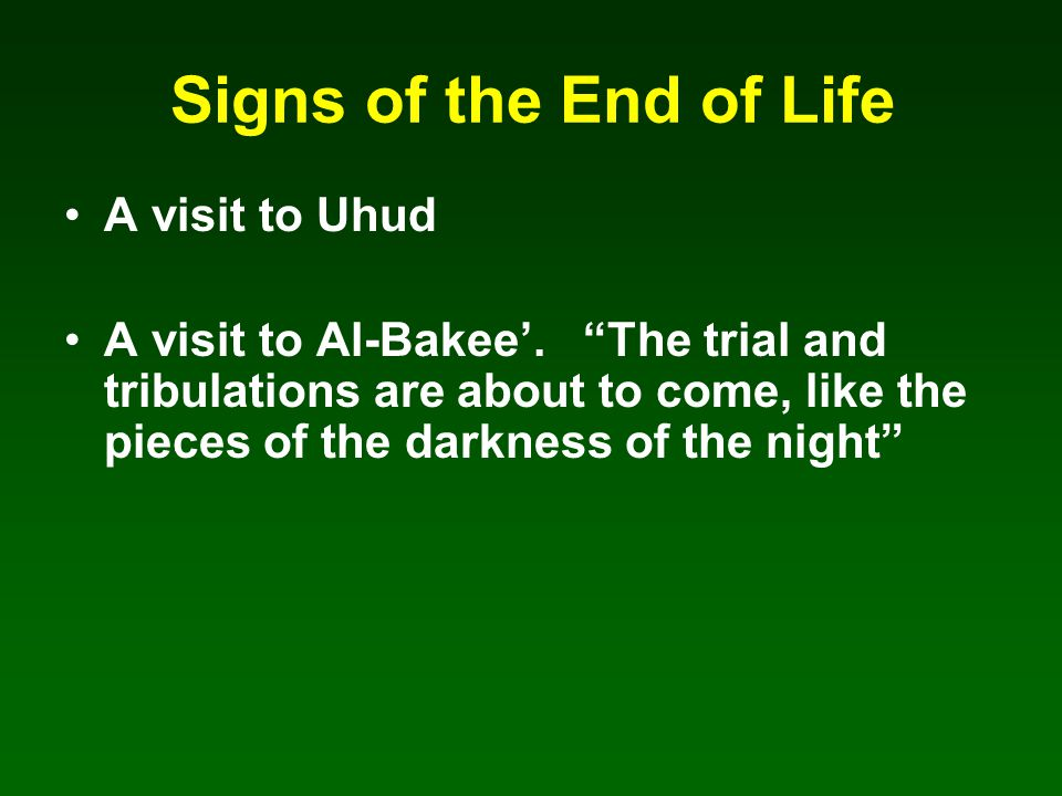 Signs of the End of Life A visit to Uhud A visit to Al-Bakee'.