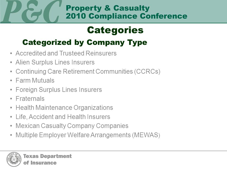 Categories continued Categorized by Company Type continued Mutuals: Local Mutual Burial, Local Mutual Aid, Statewide Mutual, and Exempt Companies Non-Profit Legal Services Corporations Premium Finance Companies Property/Casualty Insurers (including County Mutuals) Purchasing Groups Risk Retention Groups Stipulated Premium Companies Surplus Lines Insurers Title Insurers