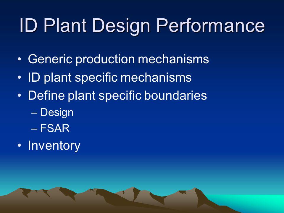 ID Plant Design Performance Generic production mechanisms ID plant specific mechanisms Define plant specific boundaries –Design –FSAR Inventory