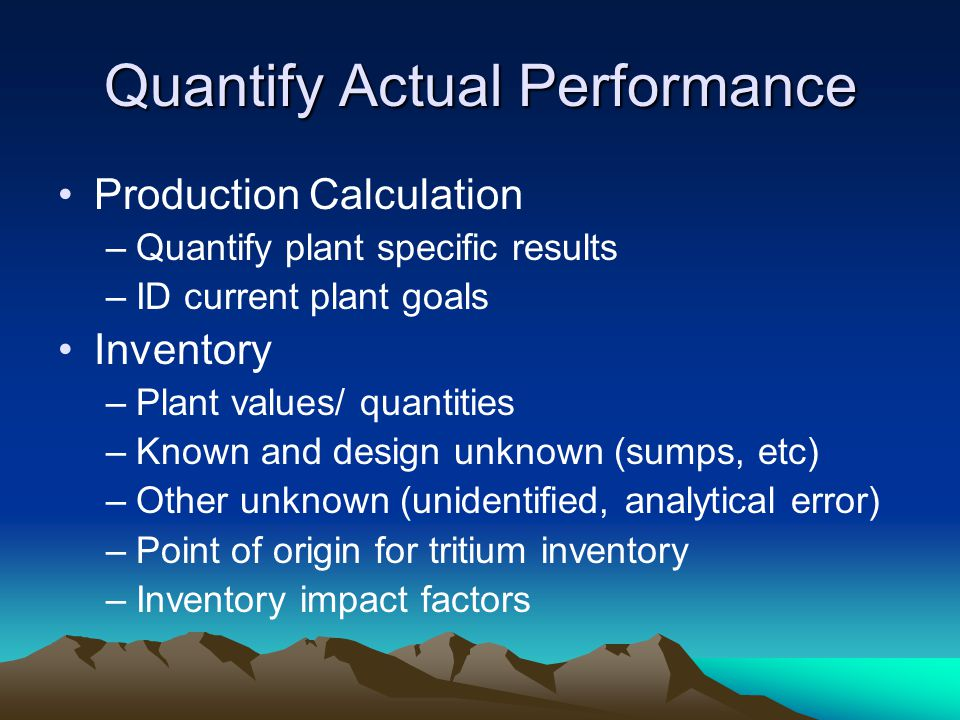 Quantify Actual Performance Production Calculation –Quantify plant specific results –ID current plant goals Inventory –Plant values/ quantities –Known
