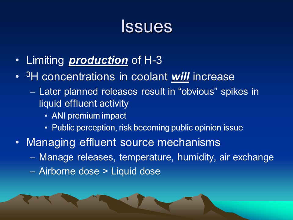 """Issues Limiting production of H-3 3 H concentrations in coolant will increase –Later planned releases result in """"obvious"""" spikes in liquid effluent ac"""