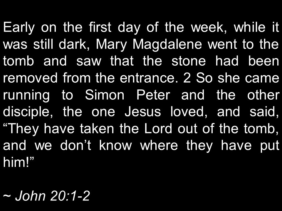 Early on the first day of the week, while it was still dark, Mary Magdalene went to the tomb and saw that the stone had been removed from the entrance.