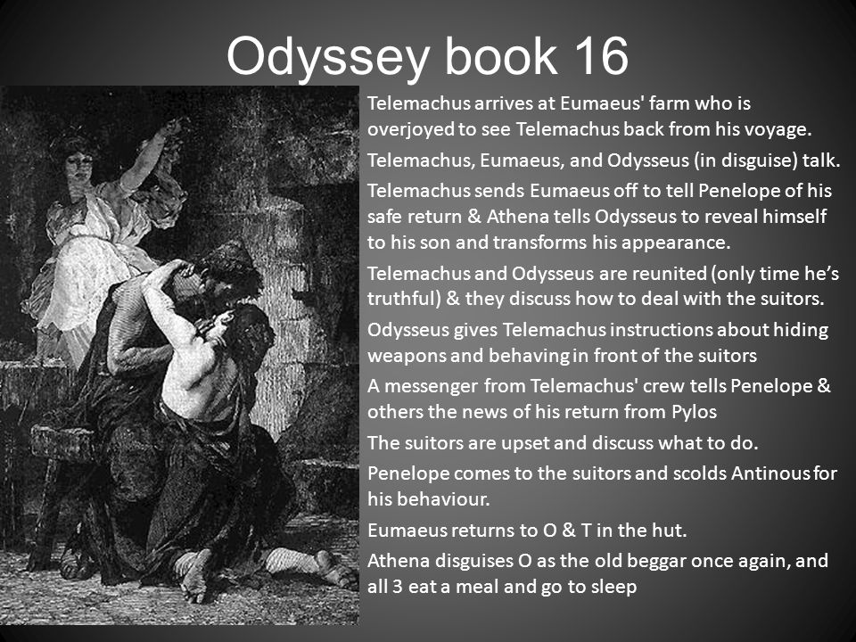 Odyssey book 16 Telemachus arrives at Eumaeus' farm who is overjoyed to see Telemachus back from his voyage. Telemachus, Eumaeus, and Odysseus (in dis