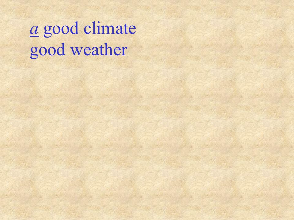 a good climate good weather