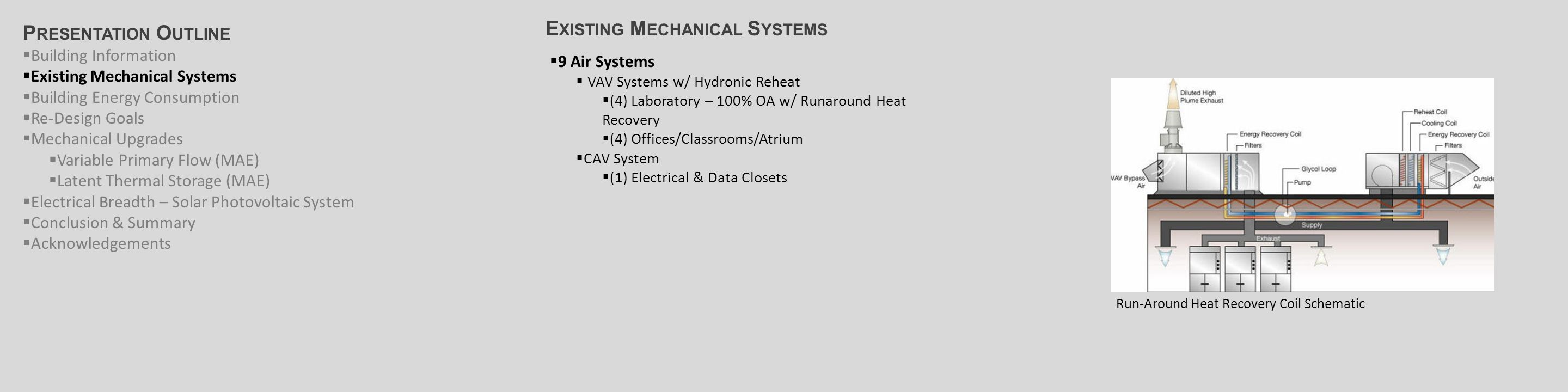 E XISTING M ECHANICAL S YSTEMS Primary/Secondary Chilled Water System P RESENTATION O UTLINE  Building Information  Existing Mechanical Systems  Building Energy Consumption  Re-Design Goals  Mechanical Upgrades  Variable Primary Flow (MAE)  Latent Thermal Storage (MAE)  Electrical Breadth – Solar Photovoltaic System  Conclusion & Summary  Acknowledgements  9 Air Systems  VAV Systems w/ Hydronic Reheat  (4) Laboratory – 100% OA w/ Runaround Heat Recovery  (4) Offices/Classrooms/Atrium  CAV System w/ Hydronic Reheat  (1) Electrical & Data Closets  Chilled Water System  (2) 620-ton Centrifugal Water-Cooled Chillers  (2) 620-ton Direct, Induced Draft Cooling Towers  Primary/Secondary Pumping System