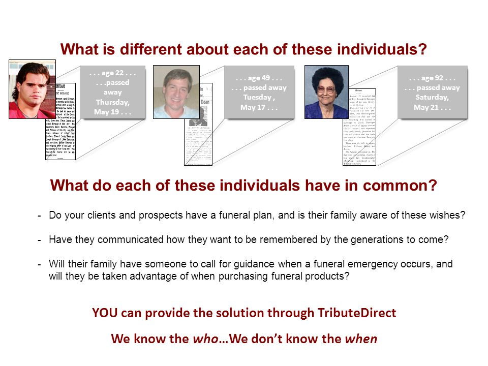 What is different about each of these individuals ...