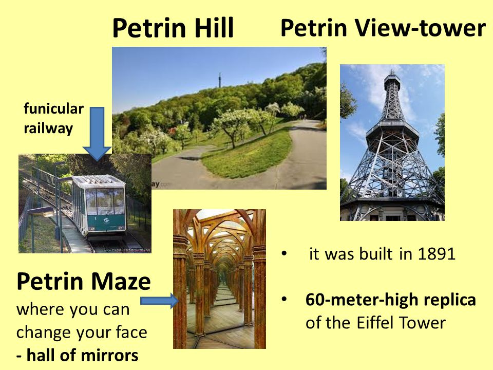 Petrin Hill it was built in 1891 60-meter-high replica of the Eiffel Tower Petrin View-tower Petrin Maze where you can change your face - hall of mirrors funicular railway