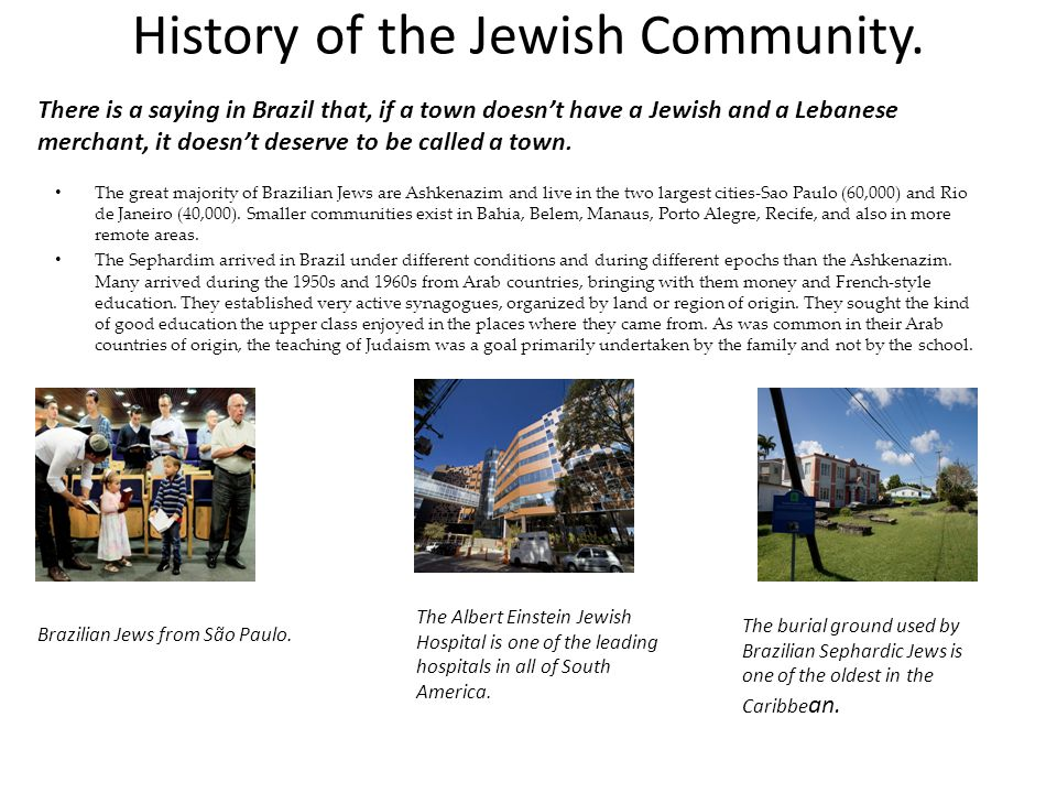 History of the Jewish Community.