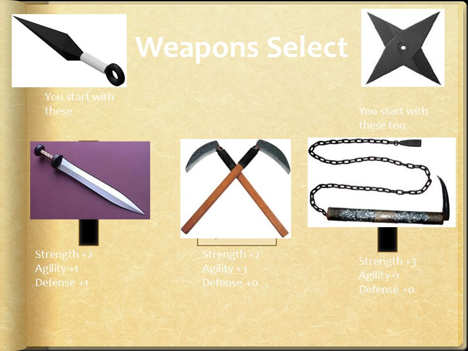 Weapons Select You start with these too You start with these Strength +2 Agility +1 Defense +1 Strength +2 Agility +3 Defense +0 Strength +3 Agility -1 Defense +0