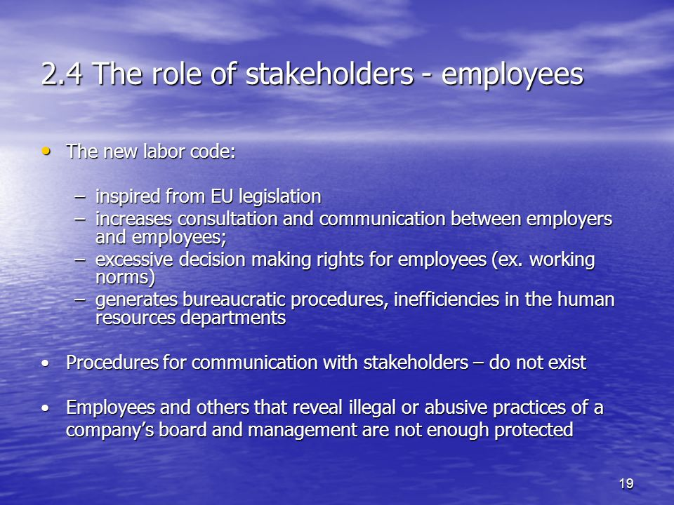 19 2.4 The role of stakeholders - employees The new labor code: The new labor code: –inspired from EU legislation –increases consultation and communication between employers and employees; –excessive decision making rights for employees (ex.