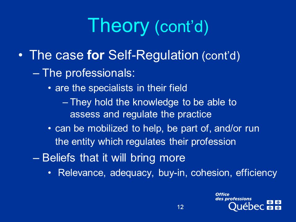 12 Theory (cont'd) The case for Self-Regulation (cont'd) –The professionals: are the specialists in their field –They hold the knowledge to be able to