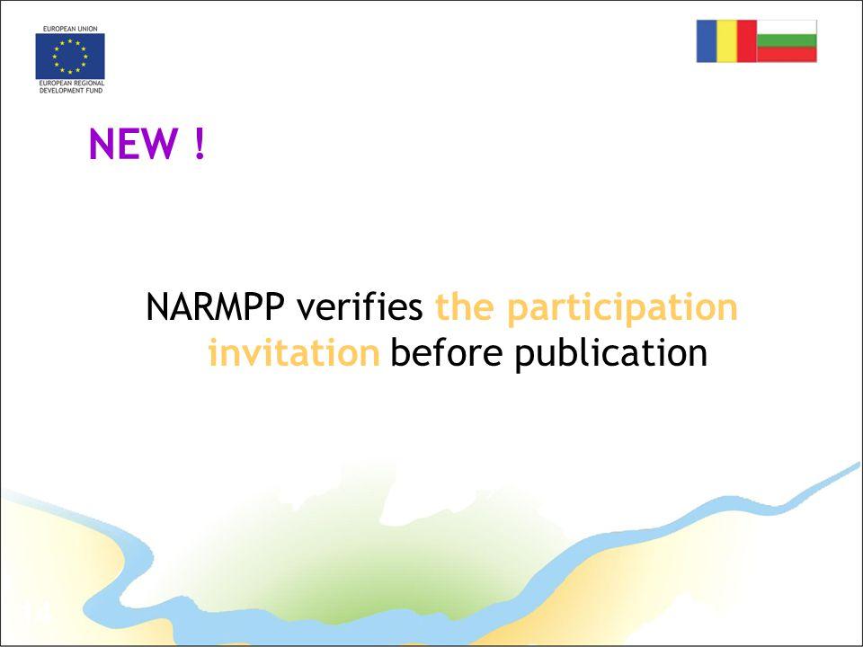 14 NEW ! NARMPP verifies the participation invitation before publication