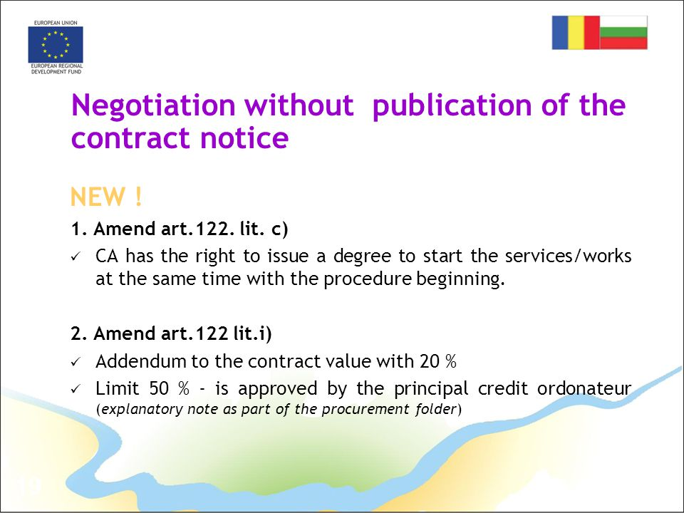 19 Negotiation without publication of the contract notice NEW .