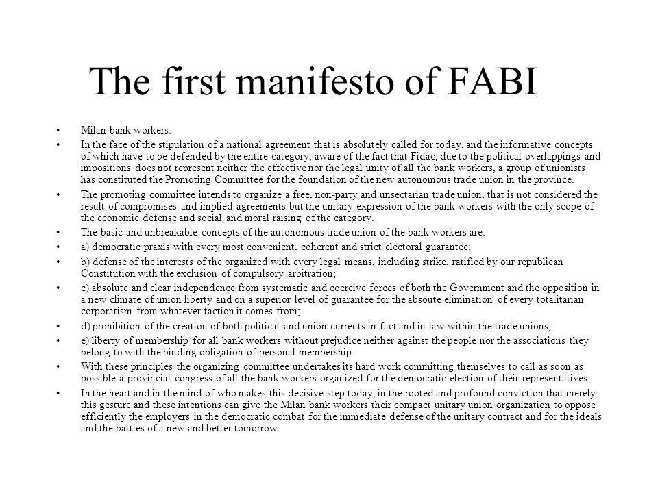 The first manifesto of FABI Milan bank workers.