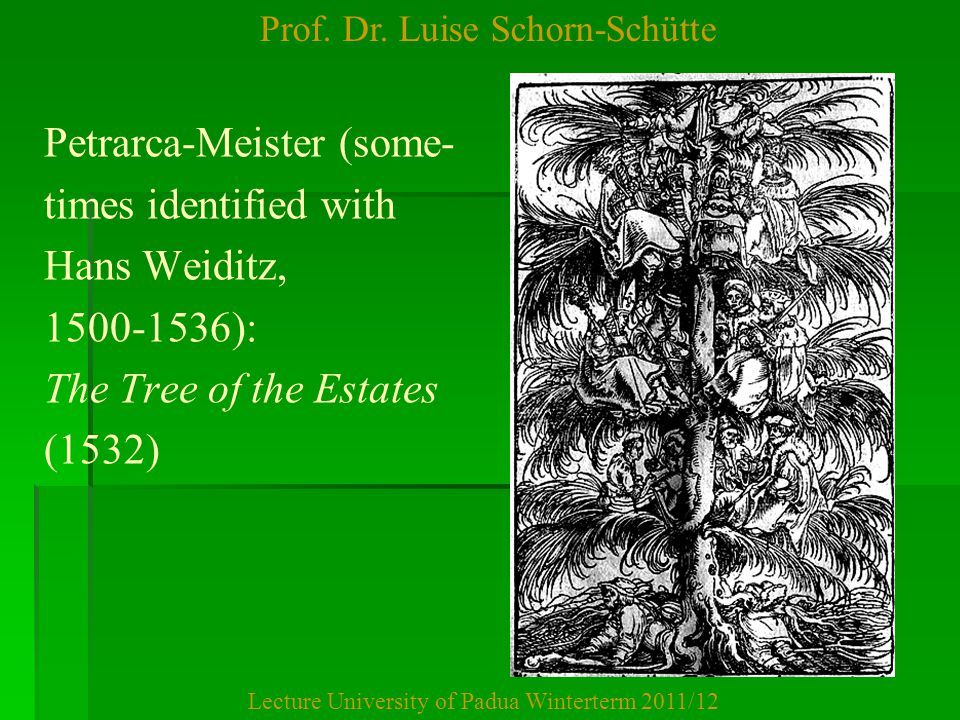 Prof. Dr. Luise Schorn-Schütte Lecture University of Padua Winterterm 2011/12 Petrarca-Meister (some- times identified with Hans Weiditz, 1500-1536):