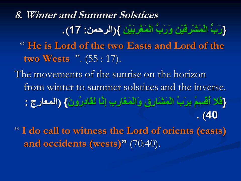 8. Winter and Summer Solstices { رَبُّ الْمَشْرِقَيْنِ وَرَبُّ الْمَغْرِبَيْنِ }) الرحمن : 17(.