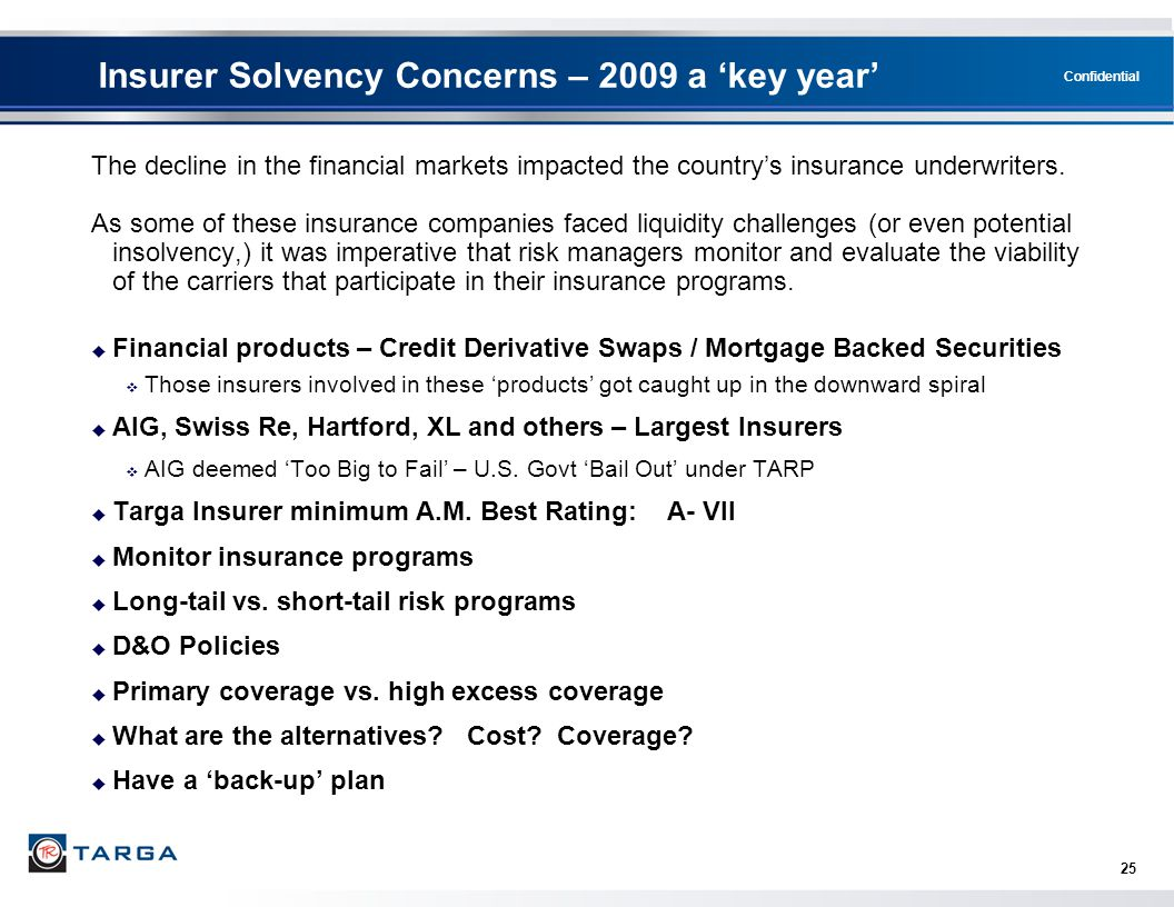 Confidential 25 Insurer Solvency Concerns – 2009 a 'key year' The decline in the financial markets impacted the country's insurance underwriters. As s