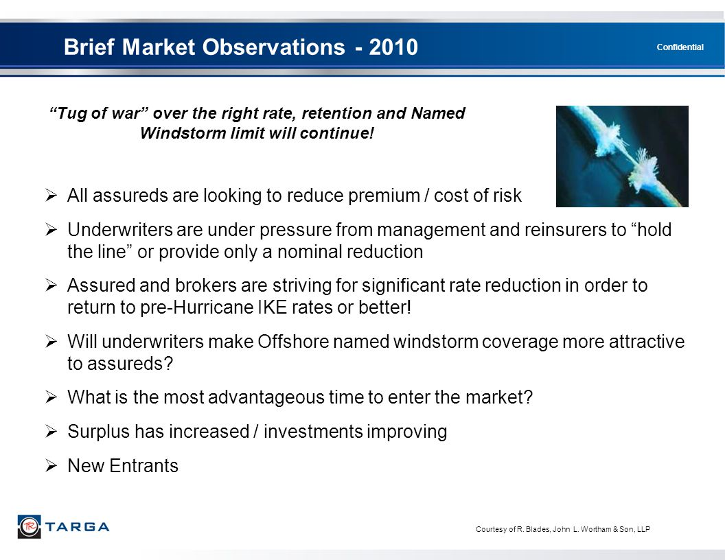 Confidential Brief Market Observations - 2010  All assureds are looking to reduce premium / cost of risk  Underwriters are under pressure from manag