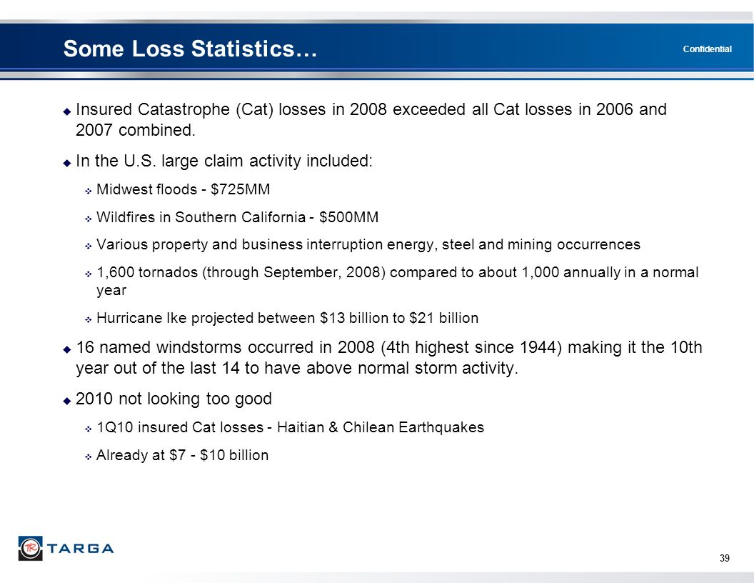 Confidential 39 Some Loss Statistics…  Insured Catastrophe (Cat) losses in 2008 exceeded all Cat losses in 2006 and 2007 combined.  In the U.S. larg