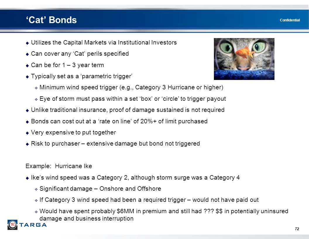 Confidential 72 'Cat' Bonds  Utilizes the Capital Markets via Institutional Investors  Can cover any 'Cat' perils specified  Can be for 1 – 3 year