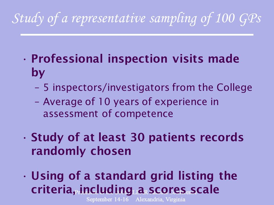 Presented at the 2006 CLEAR Annual Conference September 14-16 Alexandria, Virginia Study of a representative sampling of 100 GPs Professional inspection visits made by –5 inspectors/investigators from the College –Average of 10 years of experience in assessment of competence Study of at least 30 patients records randomly chosen Using of a standard grid listing the criteria, including a scores scale