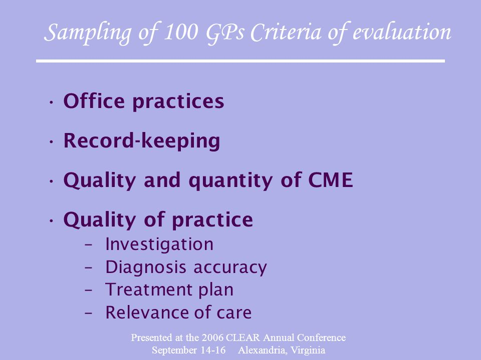 Presented at the 2006 CLEAR Annual Conference September 14-16 Alexandria, Virginia Sampling of 100 GPs Criteria of evaluation Office practices Record-keeping Quality and quantity of CME Quality of practice –Investigation –Diagnosis accuracy –Treatment plan –Relevance of care