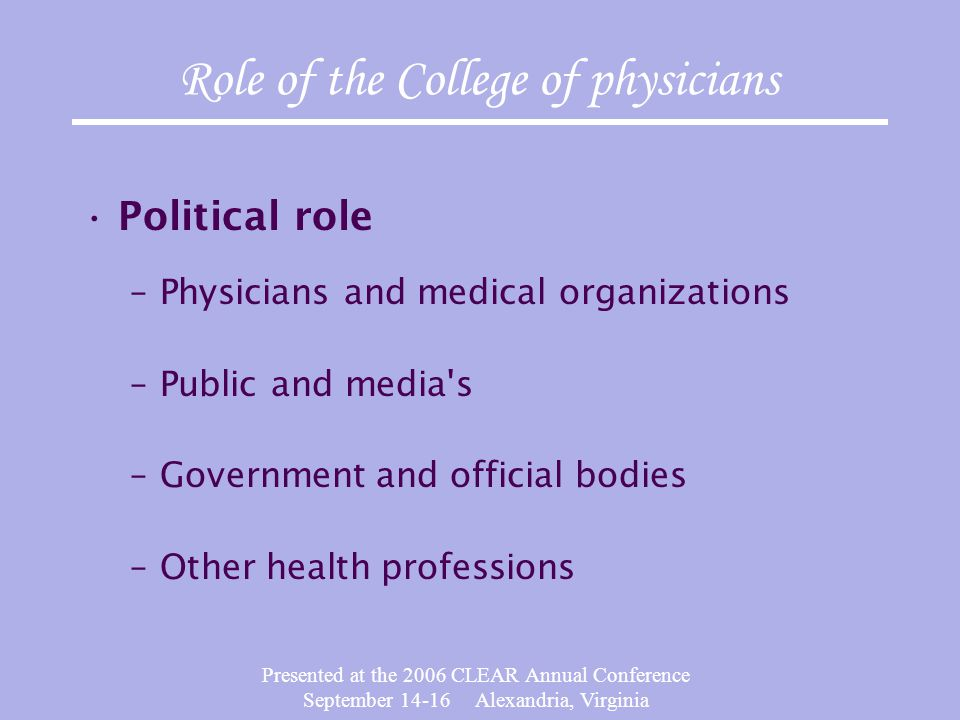Presented at the 2006 CLEAR Annual Conference September 14-16 Alexandria, Virginia Competency Attitude Hability to practice Use of ressources Components of physician's performance Professionnalism Patient TEAM