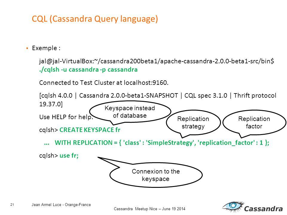 21 Cassandra Meetup Nice – June 19 2014 Jean Armel Luce - Orange-France CQL (Cassandra Query language)  Exemple : jal@jal-VirtualBox:~/cassandra200beta1/apache-cassandra-2.0.0-beta1-src/bin$./cqlsh -u cassandra -p cassandra Connected to Test Cluster at localhost:9160.