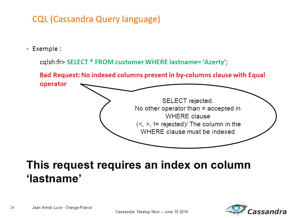 24 Cassandra Meetup Nice – June 19 2014 Jean Armel Luce - Orange-France CQL (Cassandra Query language)  Exemple : cqlsh:fr> SELECT * FROM customer WHERE lastname= 'Azerty ; Bad Request: No indexed columns present in by-columns clause with Equal operator This request requires an index on column 'lastname' SELECT rejected.
