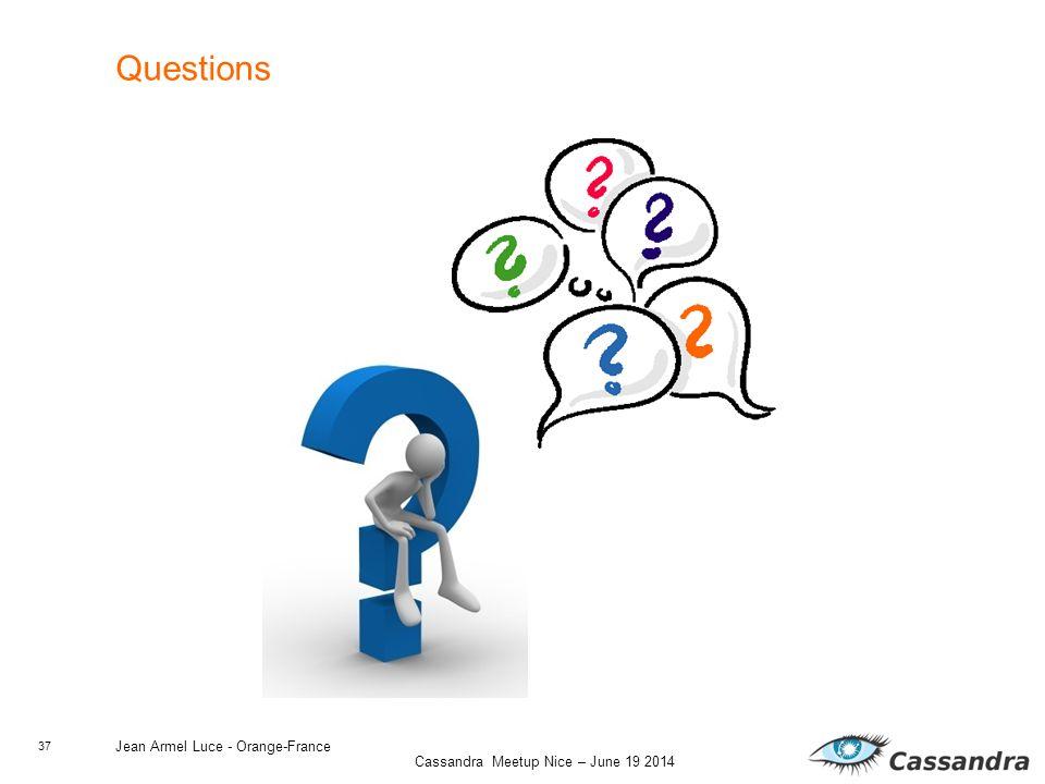 37 Cassandra Meetup Nice – June 19 2014 Jean Armel Luce - Orange-France Questions