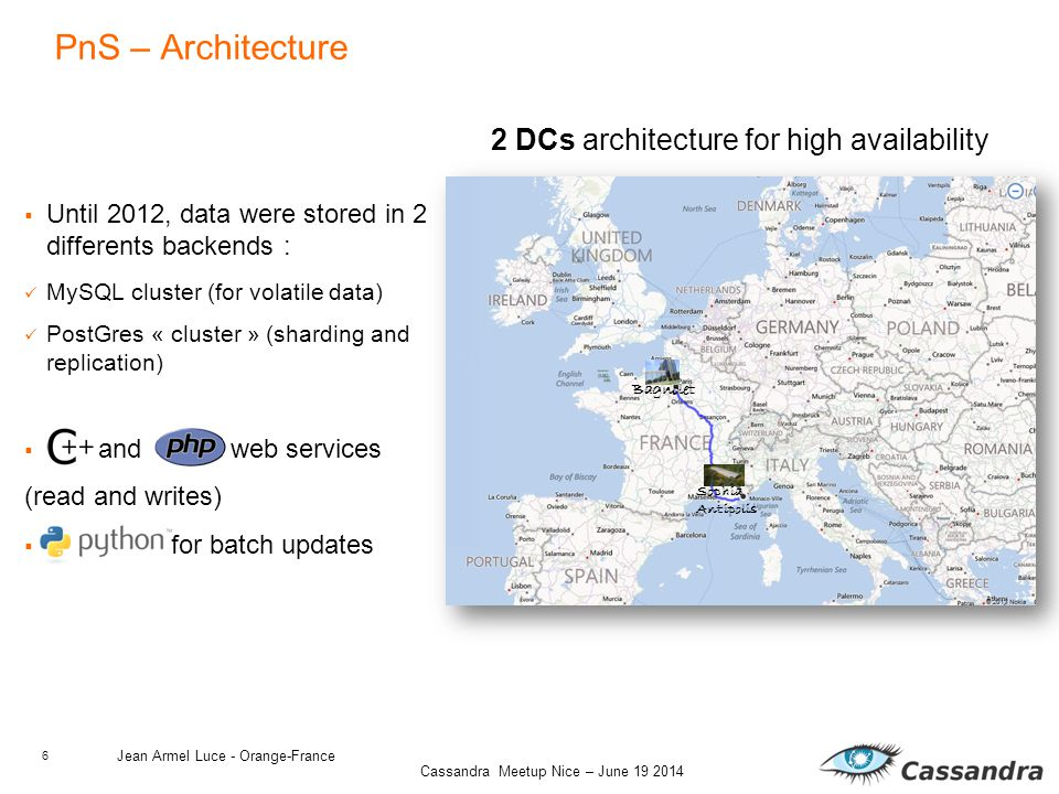 6 Cassandra Meetup Nice – June 19 2014  Until 2012, data were stored in 2 differents backends : MySQL cluster (for volatile data) PostGres « cluster » (sharding and replication)  and web services (read and writes)  for batch updates PnS – Architecture Jean Armel Luce - Orange-France Bagnolet Sophia Antipolis 2 DCs architecture for high availability