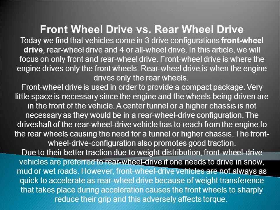 Front Wheel Drive vs.