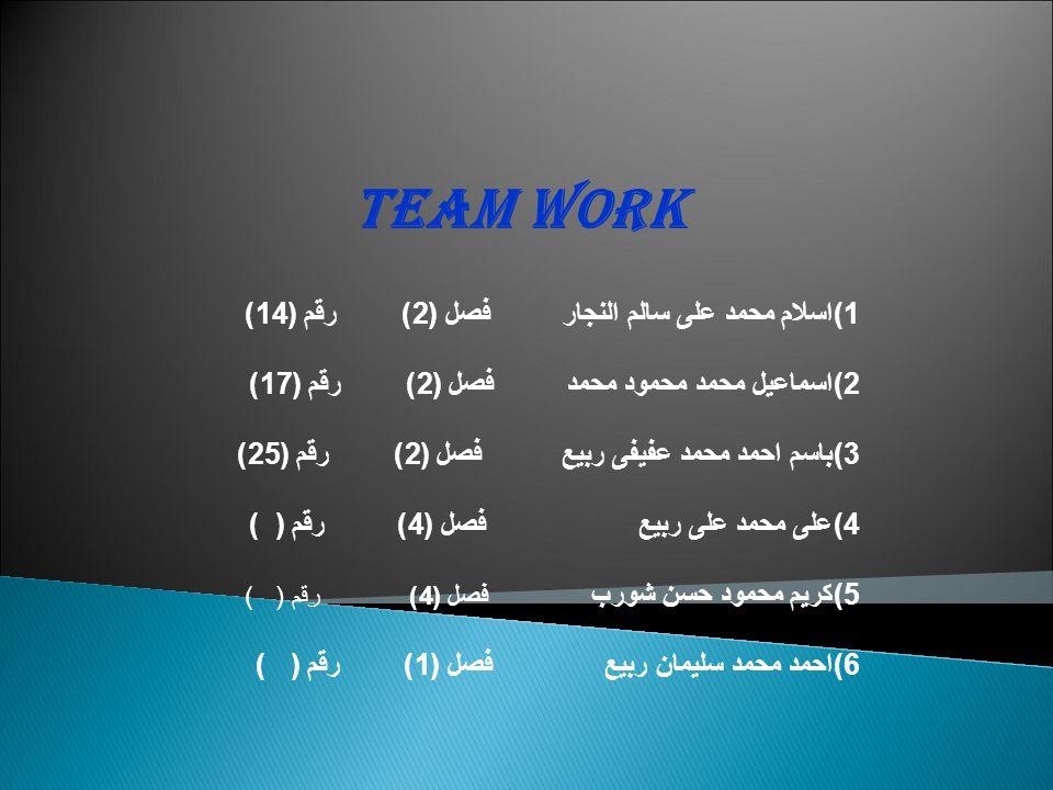 Team work 1)اسلام محمد على سالم النجار فصل (2) رقم (14) 2)اسماعيل محمد محمود محمد فصل (2) رقم (17) 3)باسم احمد محمد عفيفى ربيع فصل (2) رقم (25) 4)على محمد على ربيع فصل (4) رقم ( ) 5)كريم محمود حسن شورب فصل (4) رقم ( ) 6)احمد محمد سليمان ربيع فصل (1) رقم ( )