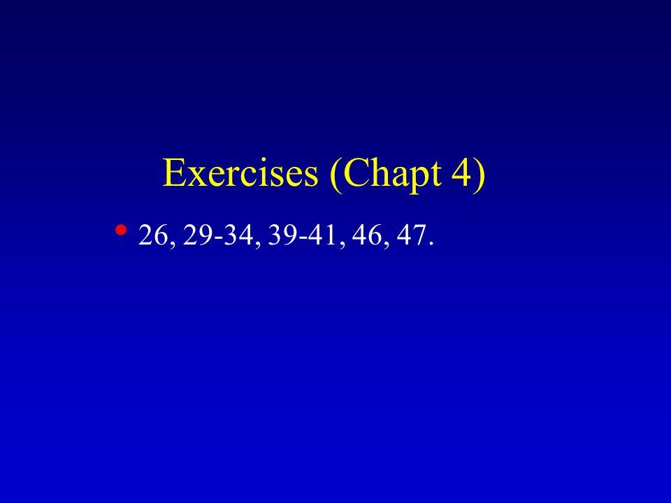 Exercises (Chapt 4) 26, 29-34, 39-41, 46, 47.