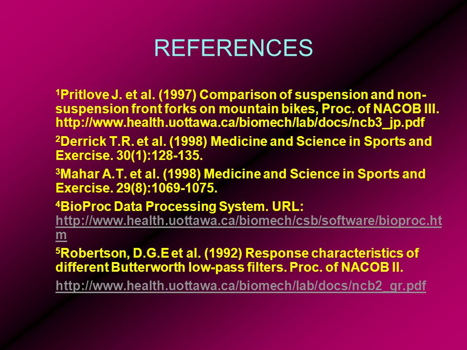 REFERENCES 1 Pritlove J. et al.