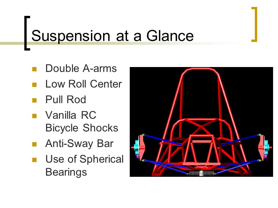 Suspension at a Glance Double A-arms Low Roll Center Pull Rod Vanilla RC Bicycle Shocks Anti-Sway Bar Use of Spherical Bearings