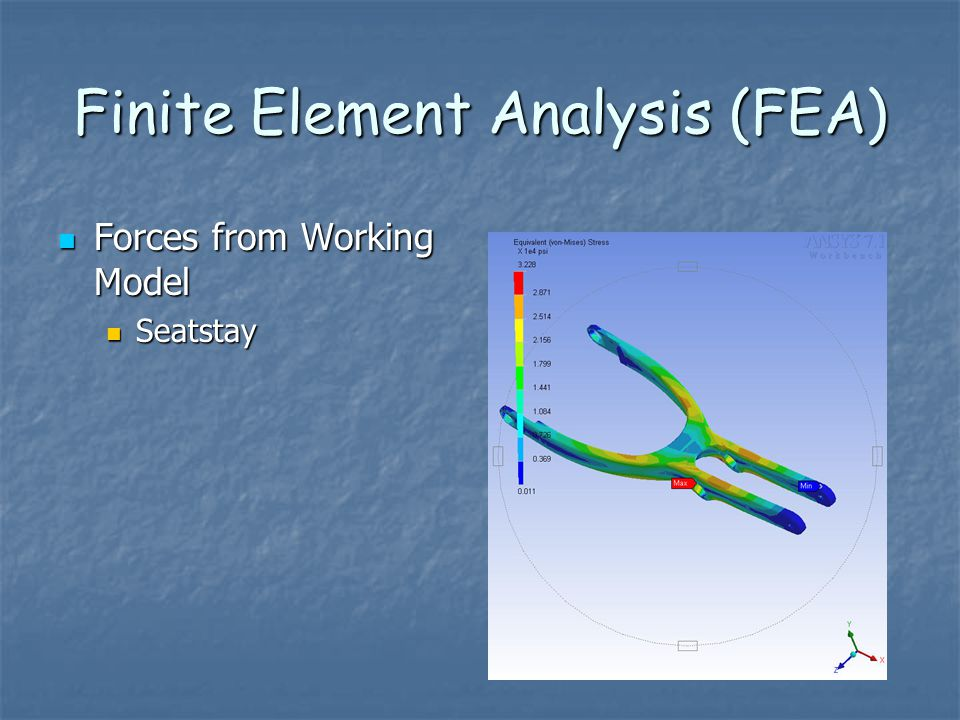 Finite Element Analysis (FEA) Forces from Working Model Forces from Working Model Seatstay Seatstay
