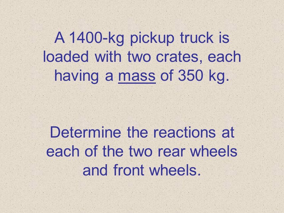 Use spacebar or mouse to advance slides. Problem 4.1 Applied Loads & Reactions Loading up that pickup truck!