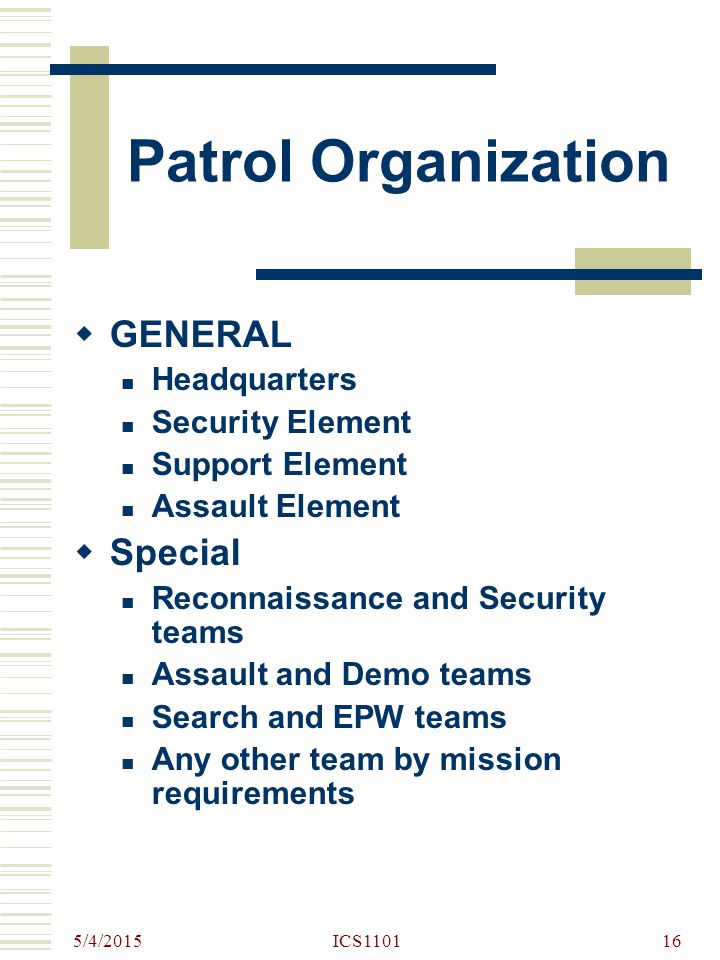 5/4/2015 ICS110116 Patrol Organization  GENERAL Headquarters Security Element Support Element Assault Element  Special Reconnaissance and Security t