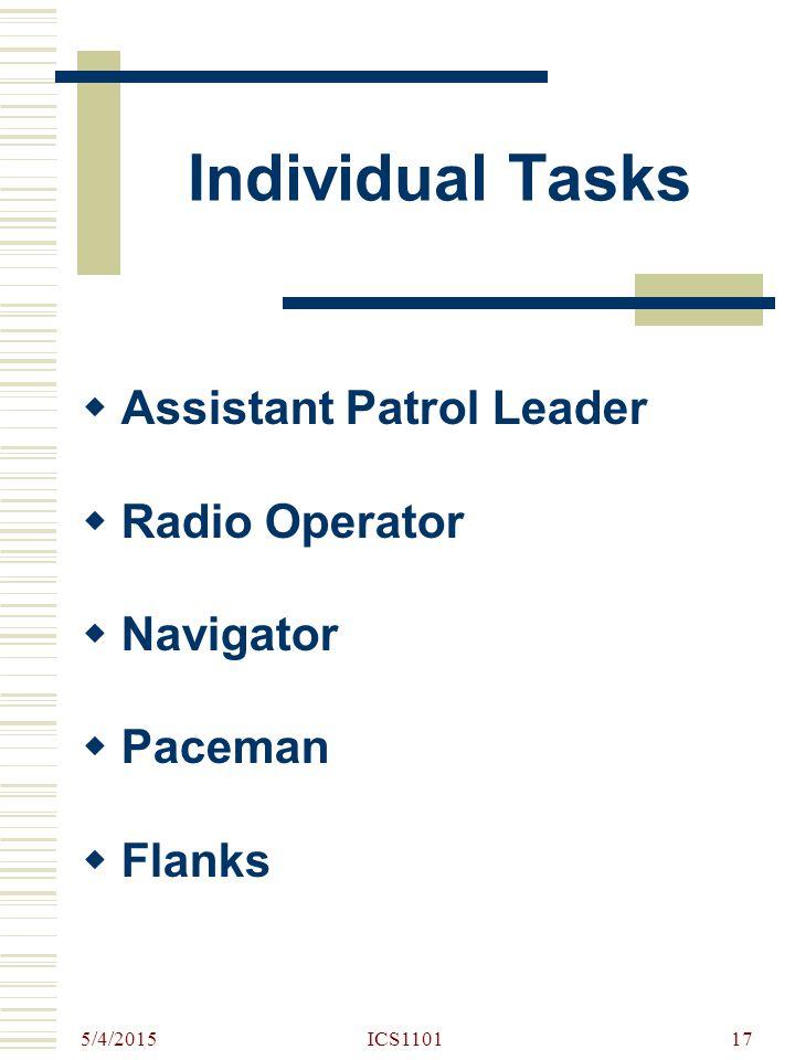 5/4/2015 ICS110117 Individual Tasks  Assistant Patrol Leader  Radio Operator  Navigator  Paceman  Flanks