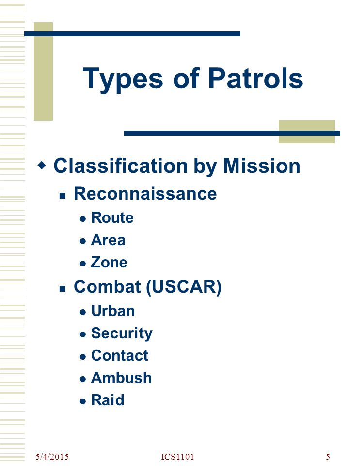 5/4/2015 ICS110116 Patrol Organization  GENERAL Headquarters Security Element Support Element Assault Element  Special Reconnaissance and Security teams Assault and Demo teams Search and EPW teams Any other team by mission requirements